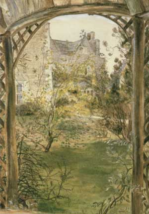 Painting by May Morris of Kelmscott Manor