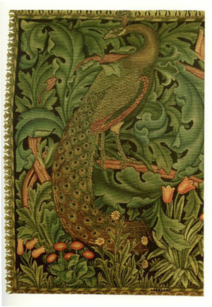 Peacock detail from The Forest, tapestry designed by William Morris, 1887