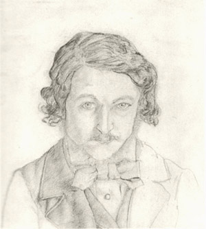 Self-portrait by William Morris, 1856