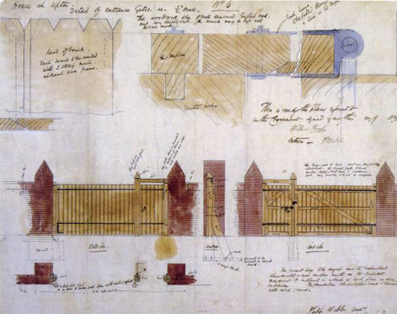 Philip Webb architectural designs for the gate at Red House