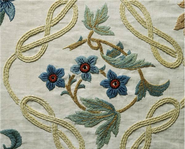 William Morris bed cover detail, embroidered by Jane and May Morris