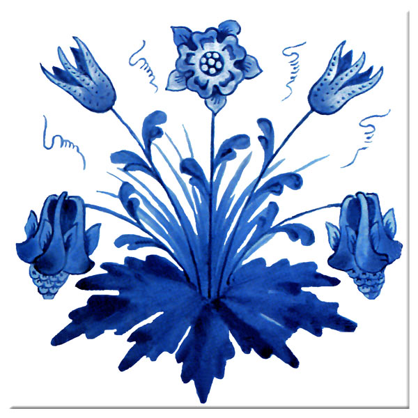 William Morris Columbine, blue and white, ceramic tile