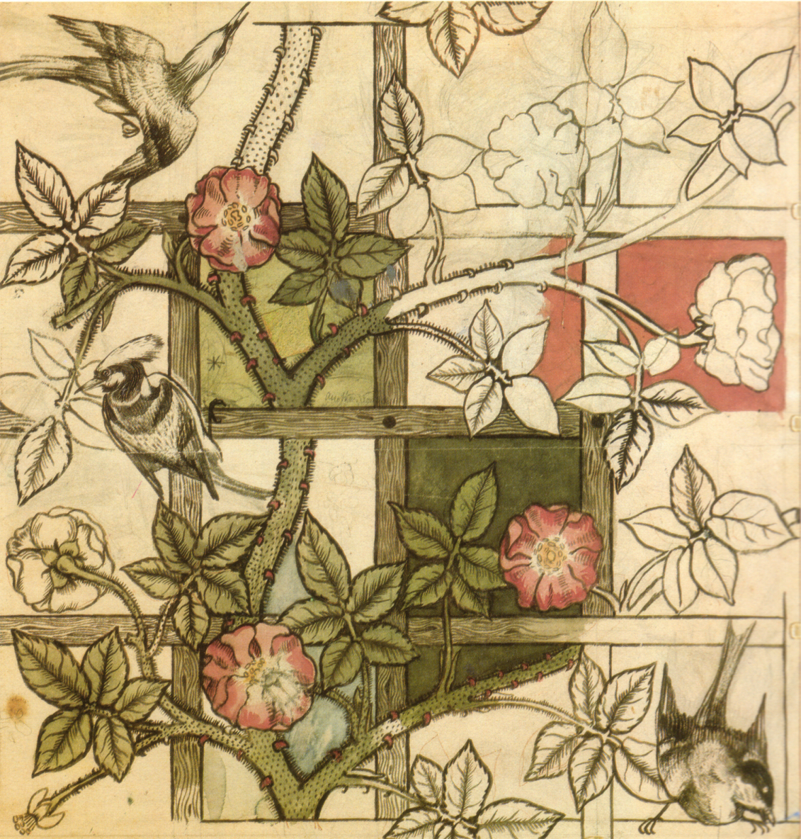 Design for Bird and Trellis, William Morris and Philip Webb