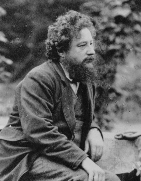 William Morris, age 40.  Platinotype by Frederick Hollyer, 1874.