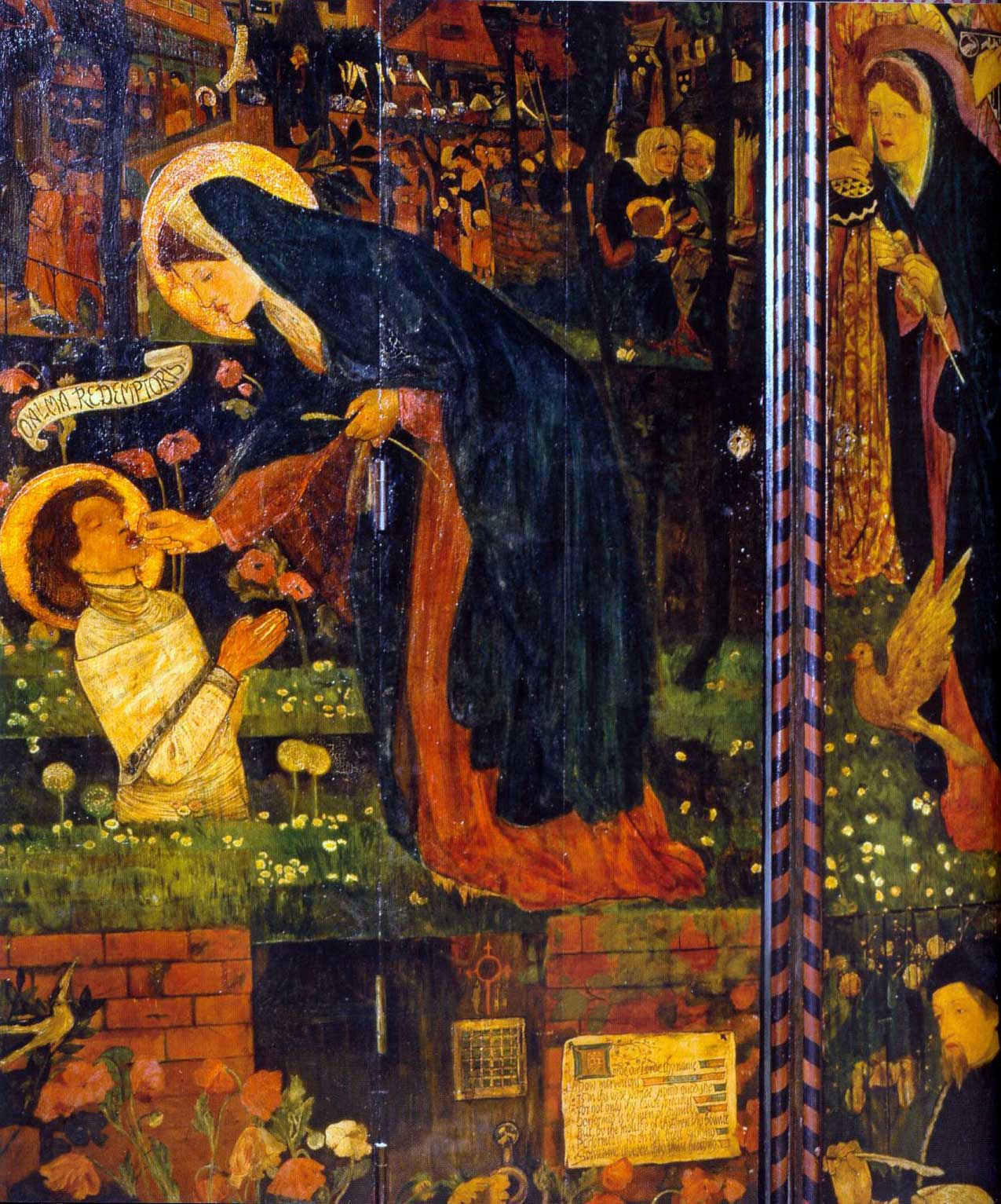 Detail from the Prioress's Tale cabinet at Red  House, painted by William Morris and circle