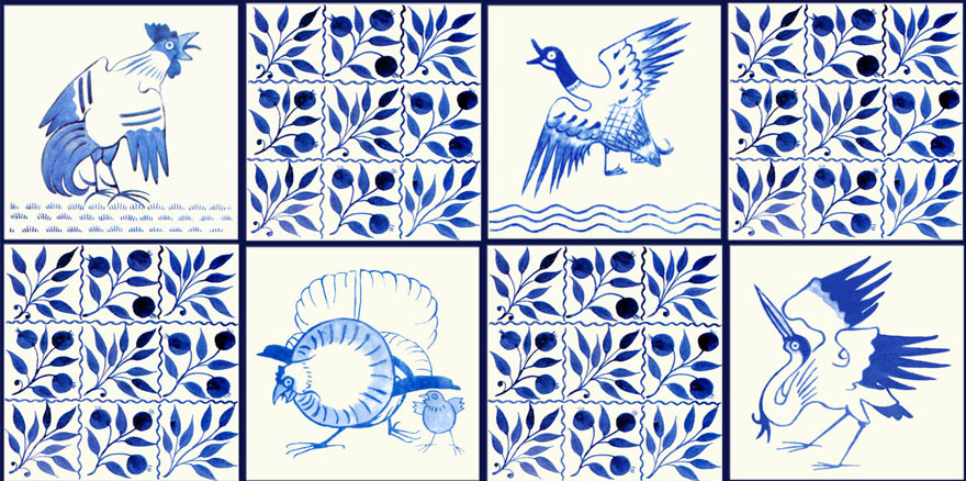 Red House Birds accent tiles