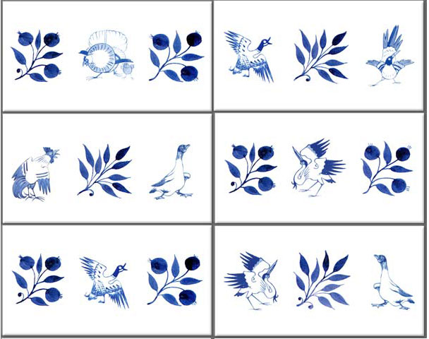 William Morris Red House Birds border tiles, 6 x 3 inches in blue and white