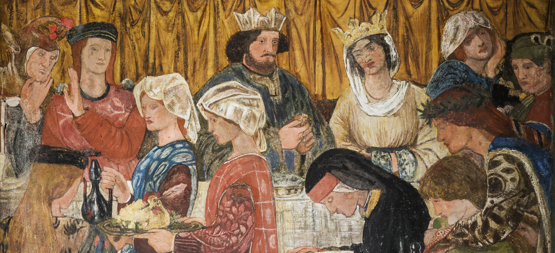 Drawing room mural at Morris's first married home, Red House. Painted by Morris, Rossetti, Burne-Jones and Webb.