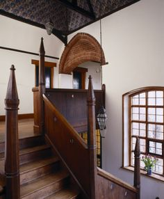Staircase landing at red house