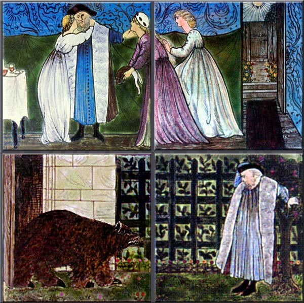 Burne-Jones for Morris and Co. Beauty and the Beast tiles: Beauty asked for a rose, The merchant encountered the beast
