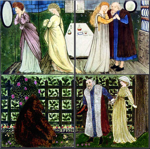 Burne-Jones for Morris and Co. Beauty and the Beast tiles: Beauty agreed to go live with the Beast, Beauty dreamt that the Beast was dying