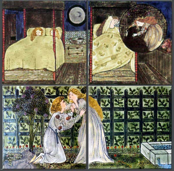 Burne-Jones for Morris and Co. Beauty and the Beast tiles: The prince became a man again, and asked Beauty to marry him