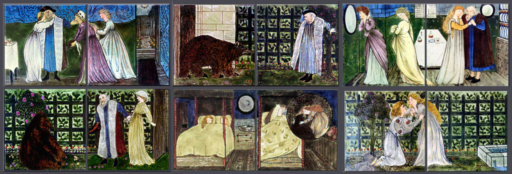 Beauty and the Beast story tiles, one of three fireplace overmantels at 'The Hill', designed by Edward Burne-Jones and painted by Lucy Faulkner for Morris, Marshall, and Faulkner