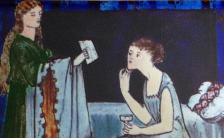 Edward Burne-Jones Cinderella panel one, tile 1 detail: A letter arrives