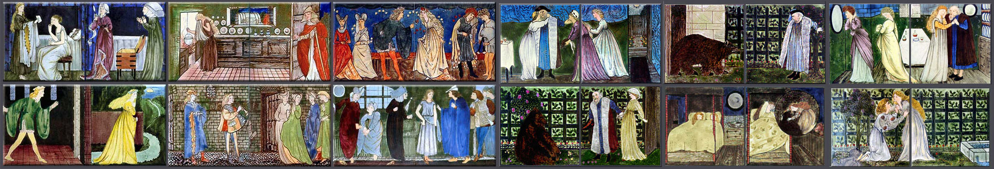 Cinderella and Beuaty and the Beast reproduction tile panels by Edward Burne-Jones for Morris and Co., 1862