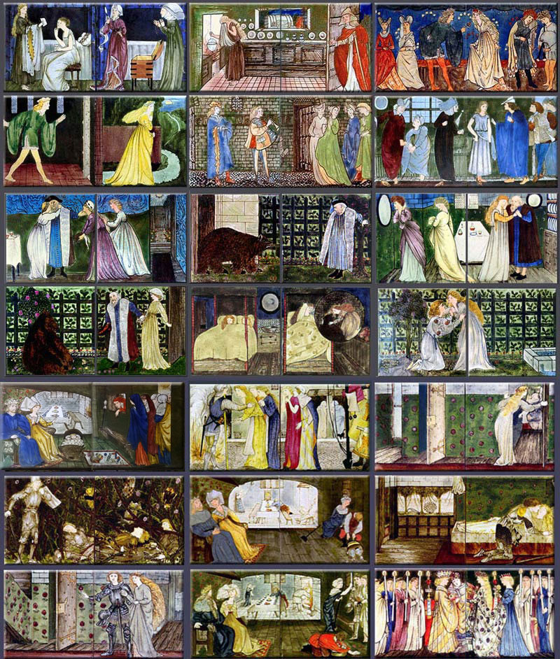 Edward Burne-Jones fairy tale tiles for the fireplace overmantels at 'The Hill'