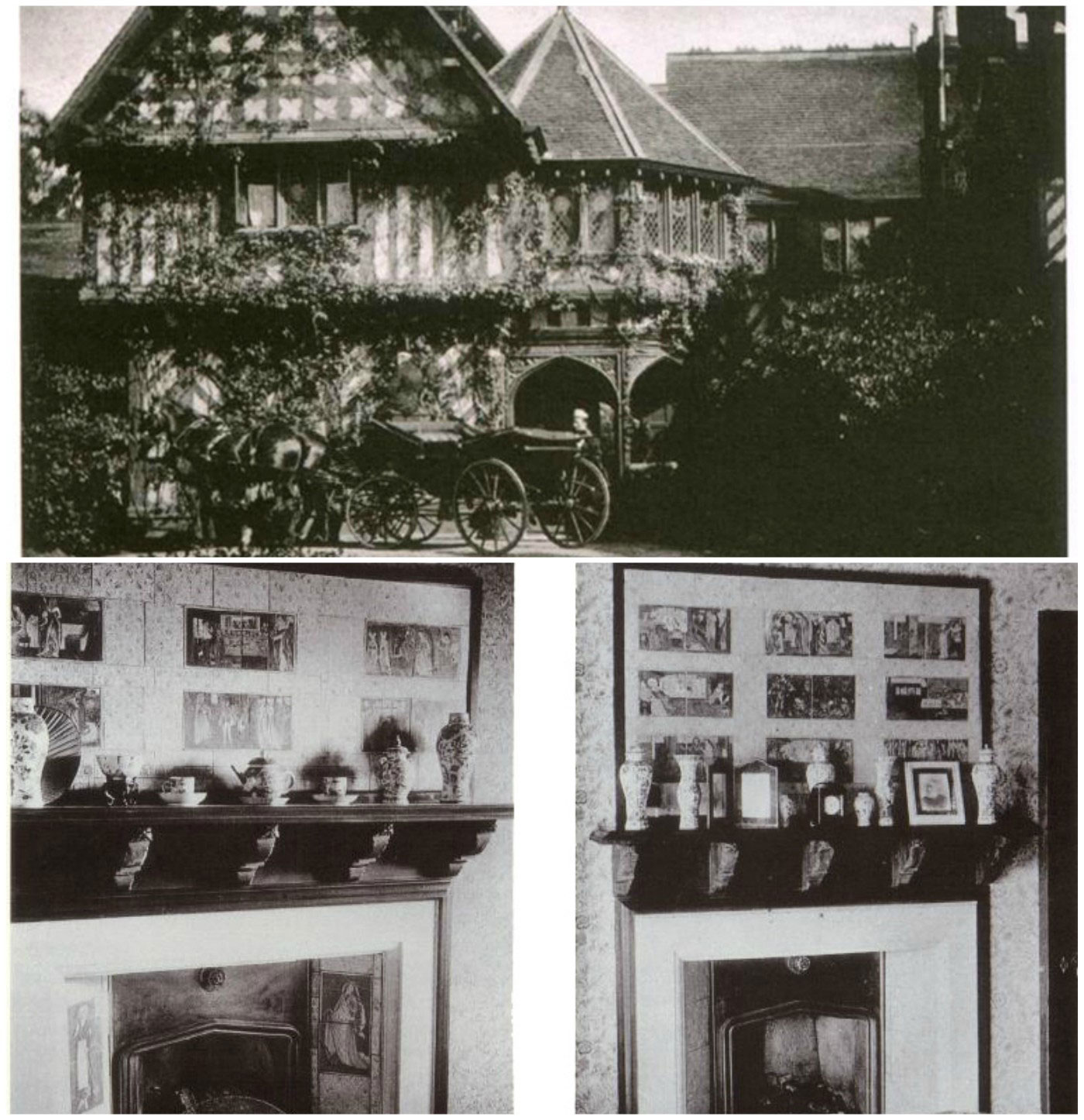 Top: architect Miles Birket Foster's 'The Hill', 1880. The Hill was demolisted in 1953. Bottom: Morris and Burne-Jones Cinderella and Sleeping Beauty overmantel tiles at 'The Hill'.