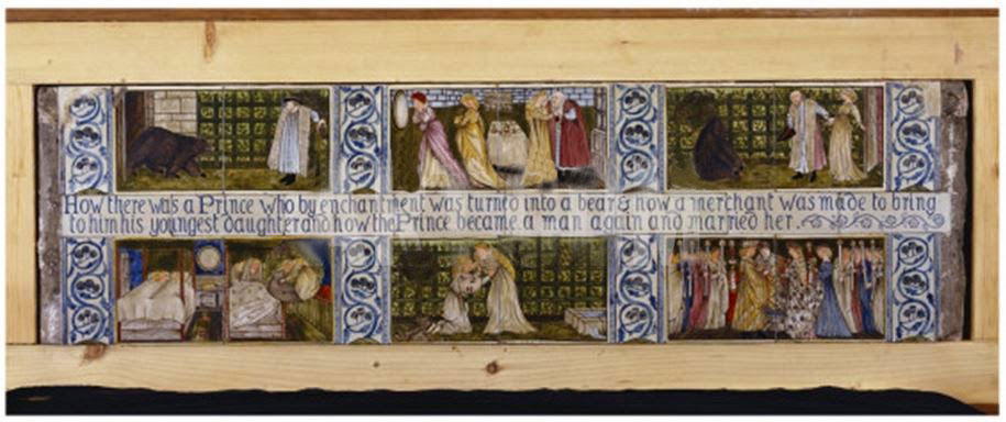 Edward Burne-Jones Beauty and the Beast tiles made for William Moore's home on the Isle of Man.