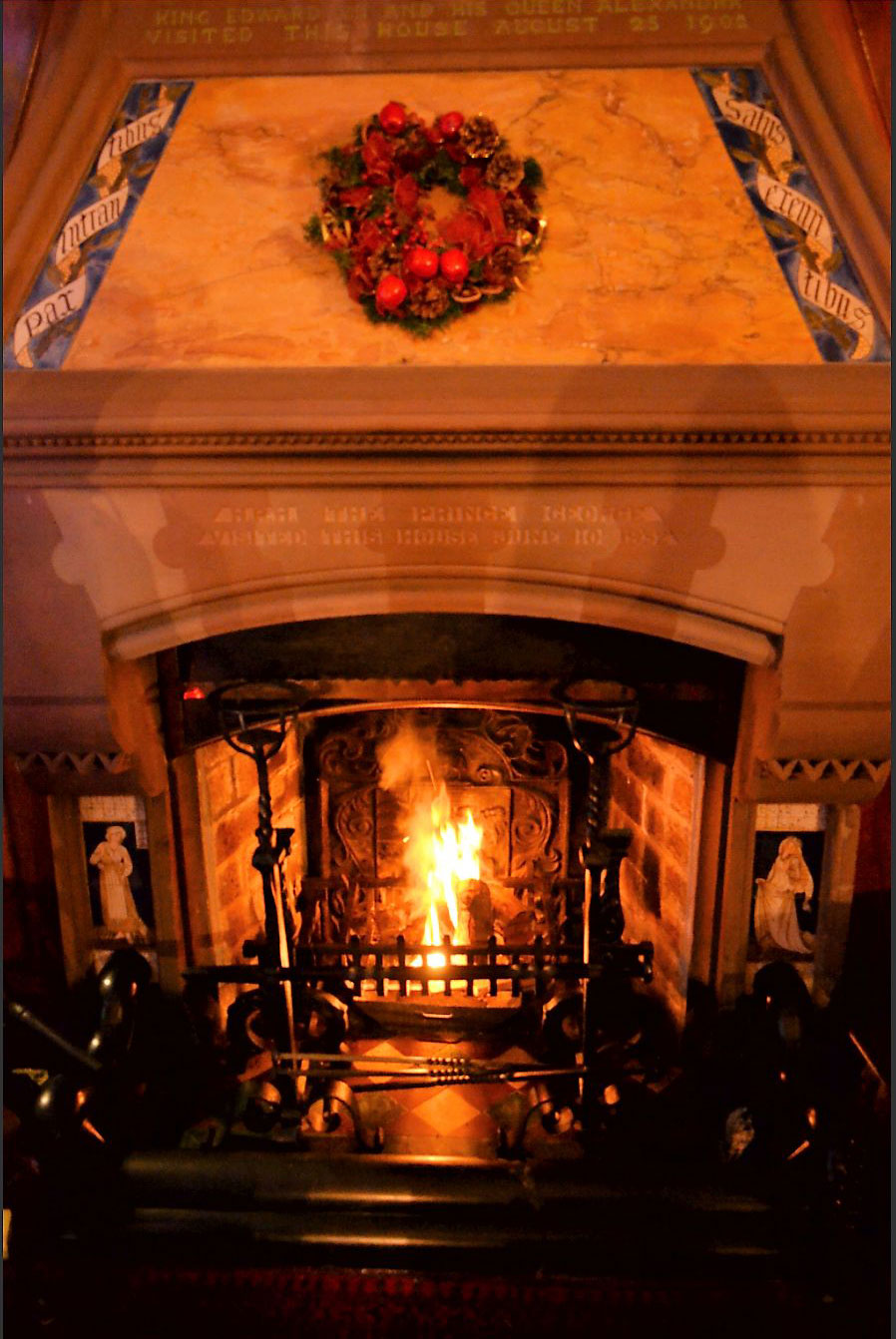 Tromode House hallway fireplace, with Morris, Marshall, and Faulkner Cinderella side panels