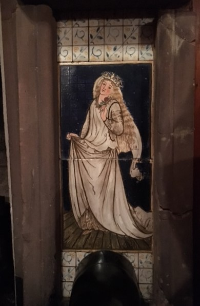 Tromode House hallway fireplace, right Cinderella panel, showing Cinderella after meeting and marrying the Prince