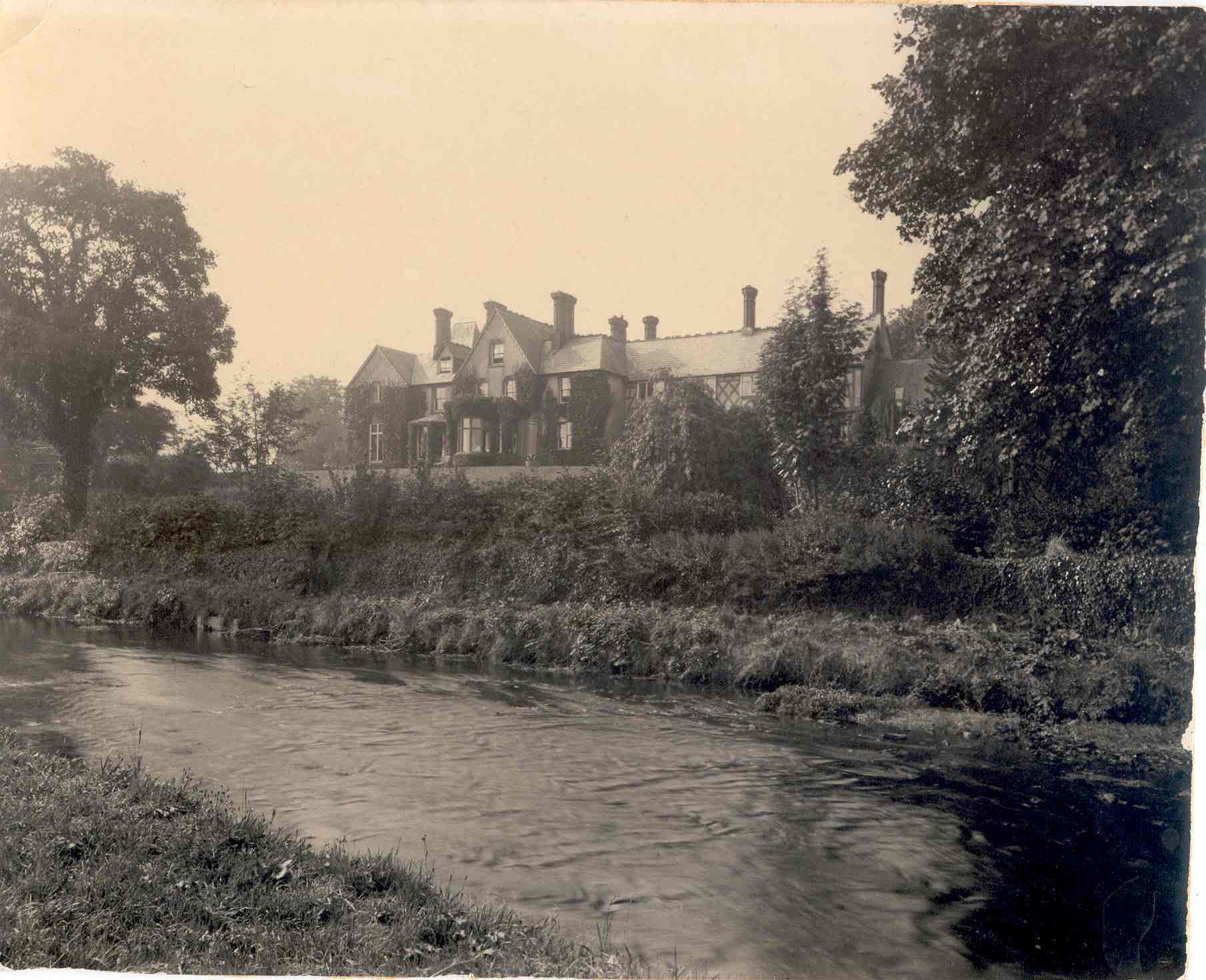 Cronkbourne House (Tromode House), view from river in 1890s