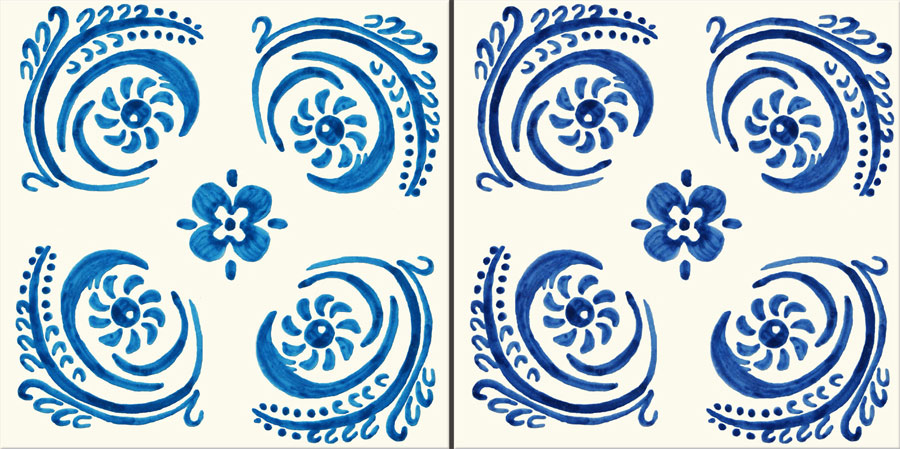 Philip Webb tile shown in Webb Blue (right) and De Morgan blue left)