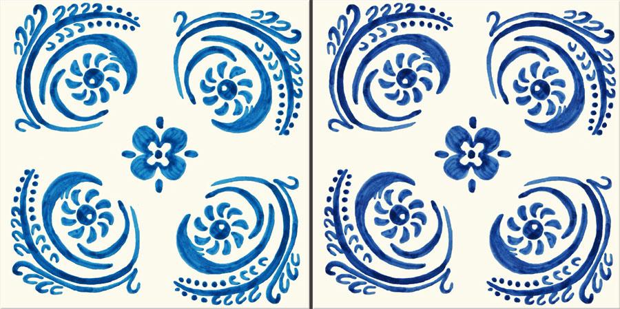 Philip Webb tile shown in Webb Blue (right) and De Morgan blue left)