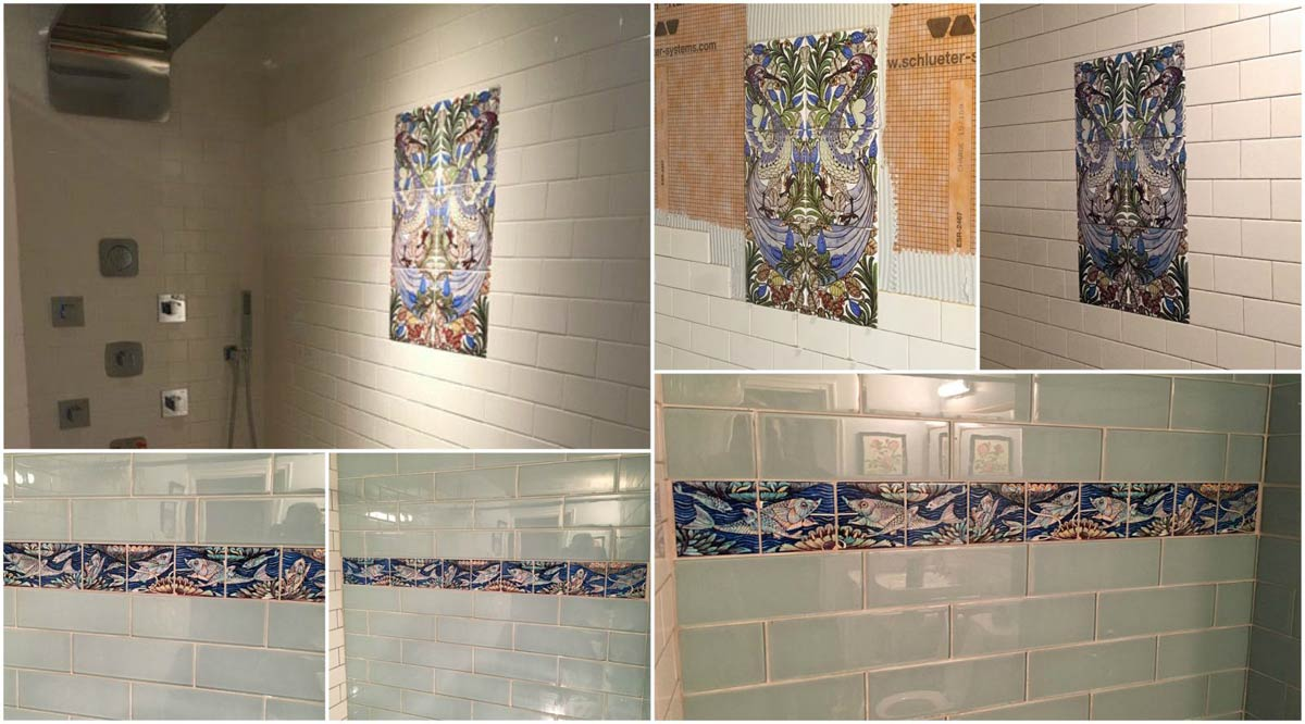 Arts & Crafts shower in Northampton, MA, by E Stuart Giles III, featuring facing William De Morgan Fantastic Birds on eight-inch ceramic tiles