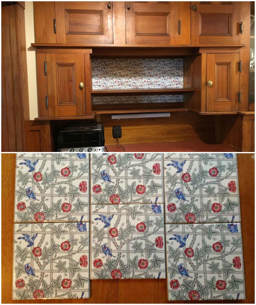 Bird and Trellis pantry tiles
