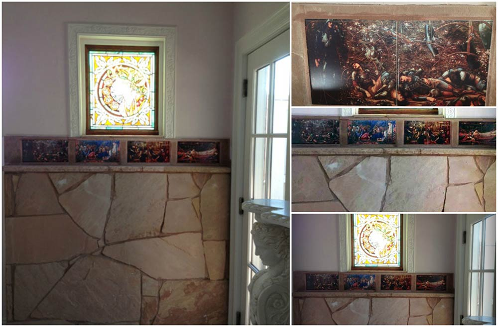 Burne-Jones Briar Rose accent tiles installed in North Richland Hills, Texas, guest house