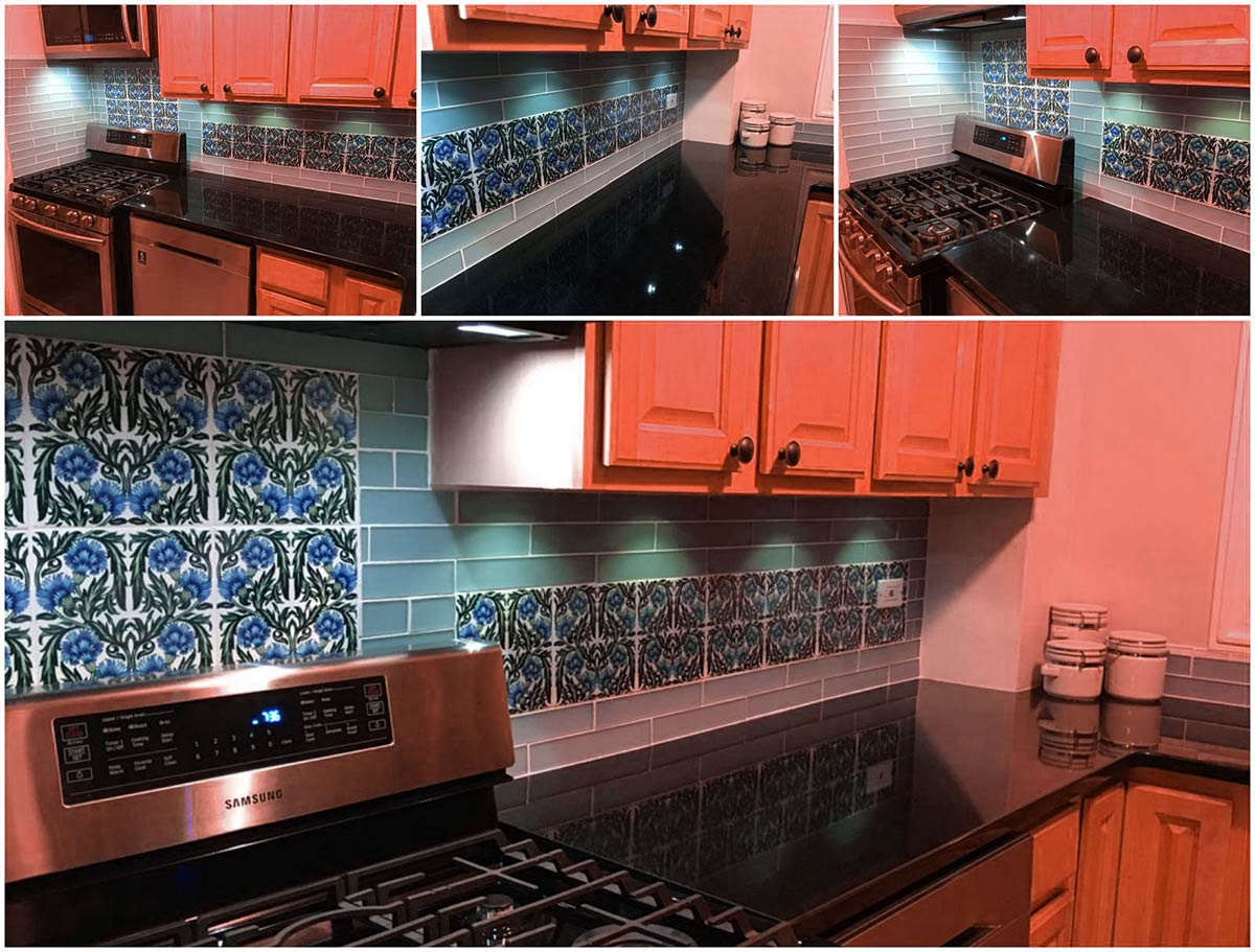 William De Morgan Arts & Crafts kitchen in Brooklyn, NY, featuring blue De Morgan carnations on eight-inch tiles.