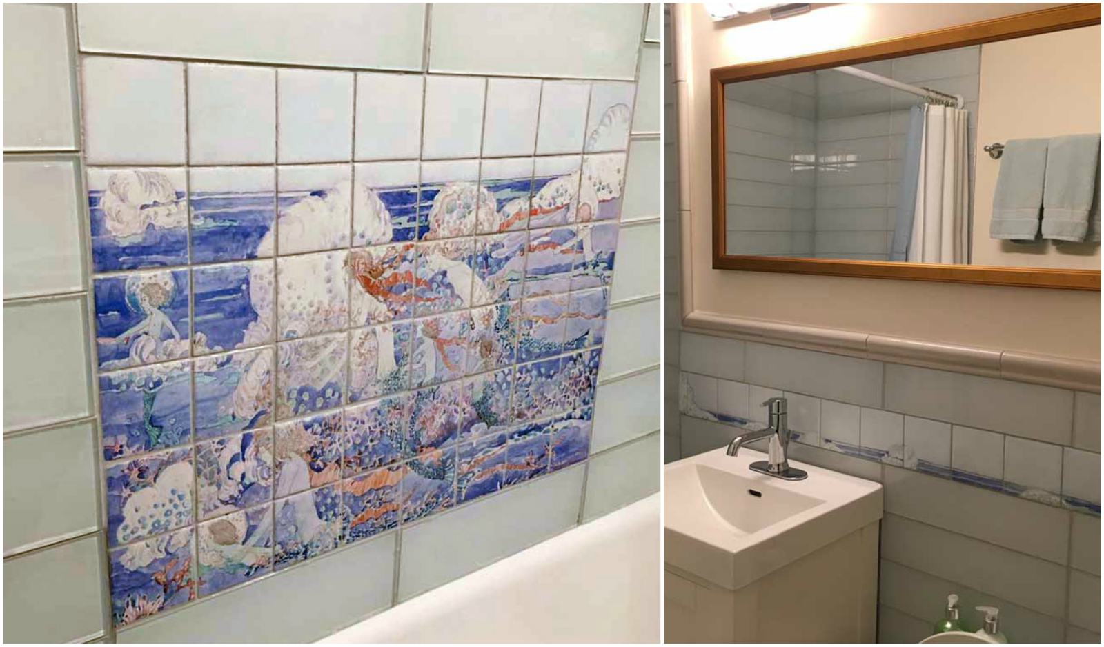 Glasgow Arts & Crafts bathroom in New York featuring Jessie M. King Mermaids tile mural.