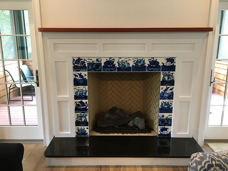 Victorian Fireplace with William De Morgan blue and white ships, North Kingston, Ri