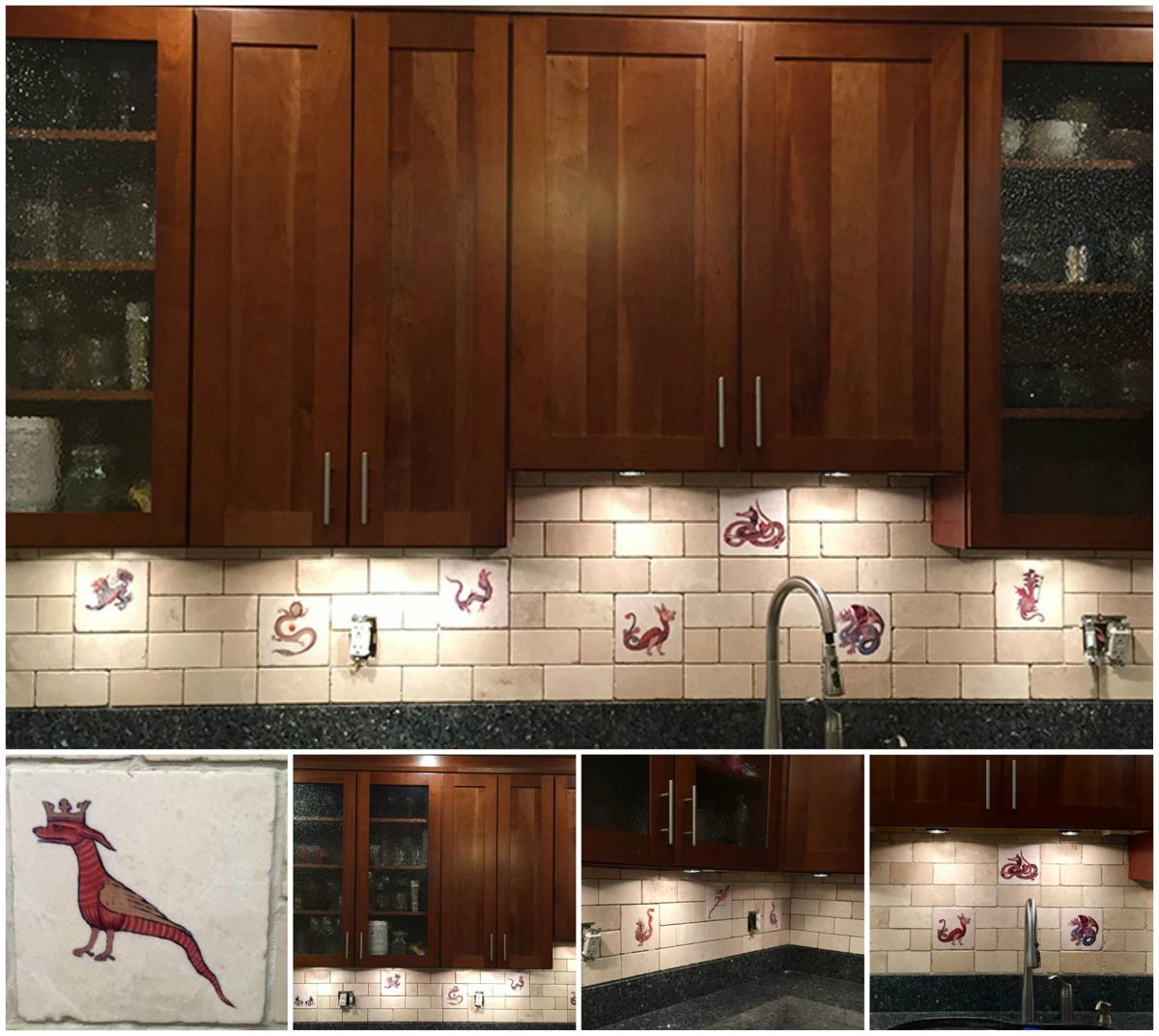Medieval Bestiary themed kitchen backsplash in Washington, DC, featuring bestiary dragons and tumbled marble subway tile