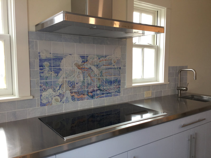 Jessie Marion King illustration to The Little Mermaid tile backsplash