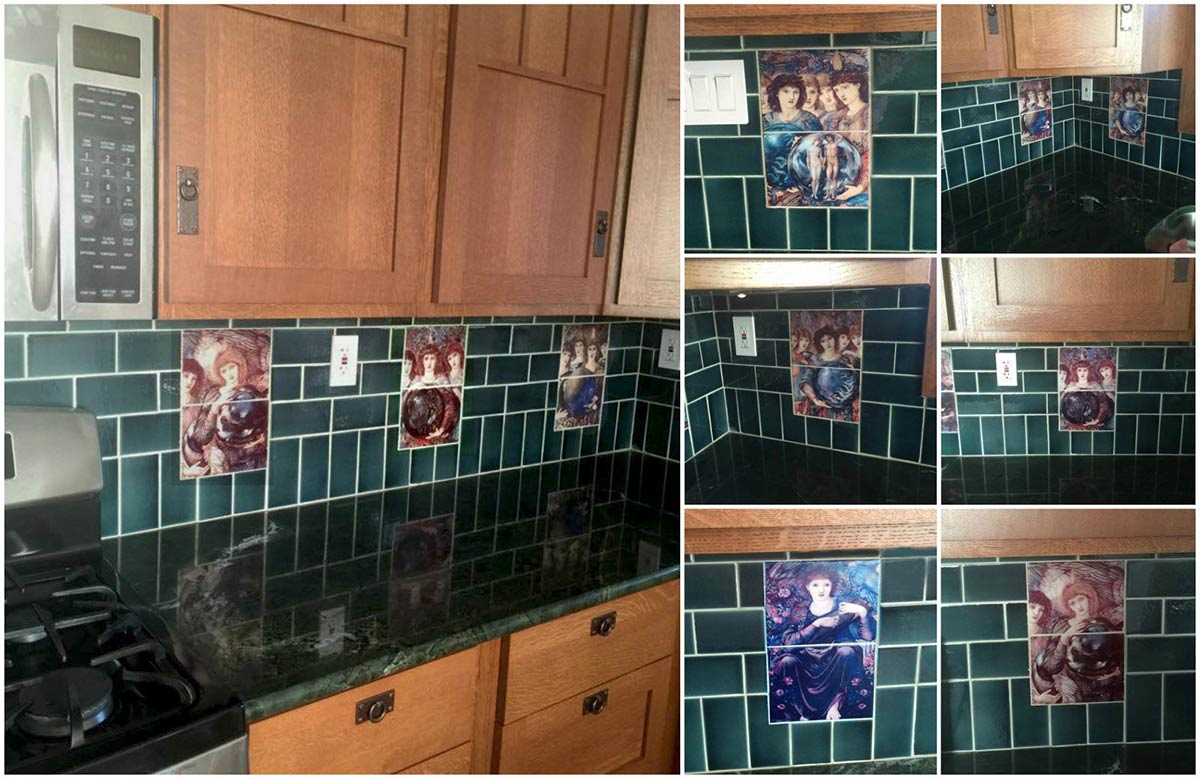 Pre-Raphaelite kitchen in Arlington, VA, featuring seven Burne-Jones Days of Creation half-panel angels in undercabinet backsplash