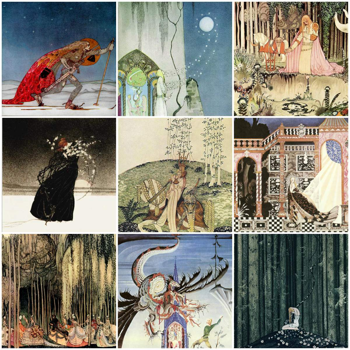 Kay Nielsen Tiles, 4.25, 6 and 8 inch tiles.