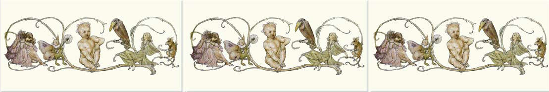 Arthur Rackham Peter Pan in Kensington Gardens border tiles: 6 x 3 inch ceramic tiles from williammorristile.com