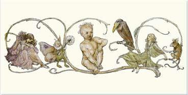 Arthur Rackham Peter Pan in Kensington Gardens Single Border Tile