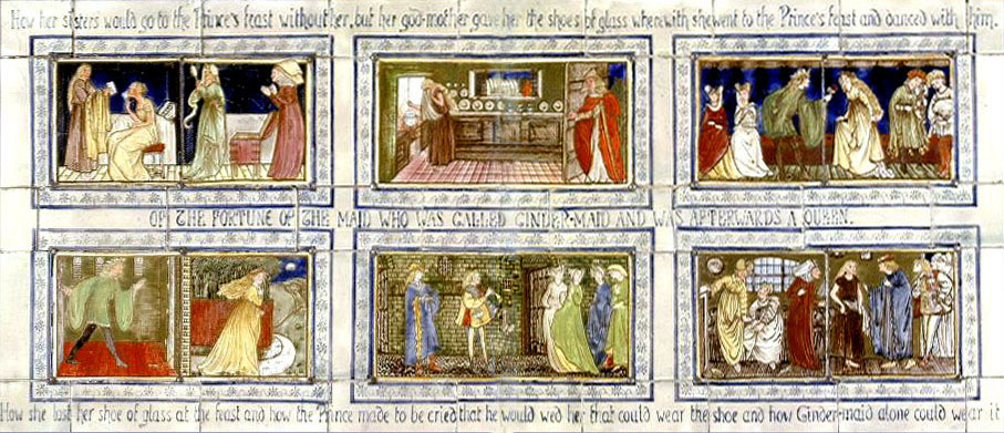 Overmantel tile panels in Cinderella fairy tale theme, designed by William Morris and Edward Burne-Jones