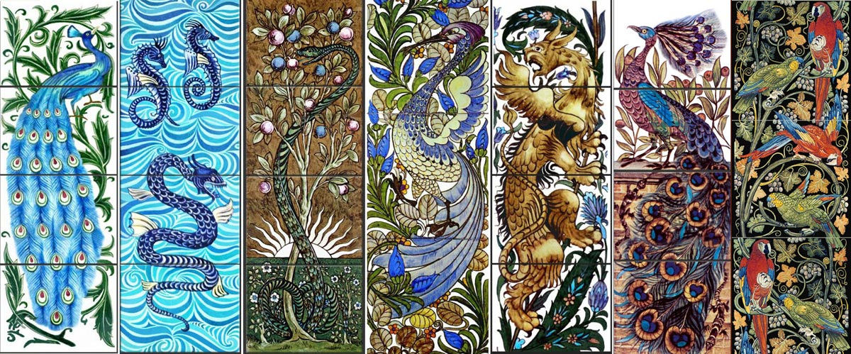 Seven William De Morgan tile panels.  Left to Right: William De Morgan blue peacock, Winged Seahorse Panel, Tree of Knowledge (with William Morris), Fantastic Bird, Winged Gryphon, Peacock and Salamanders, Parrot Fireplace Tiles from WilliamMorrisTile.com