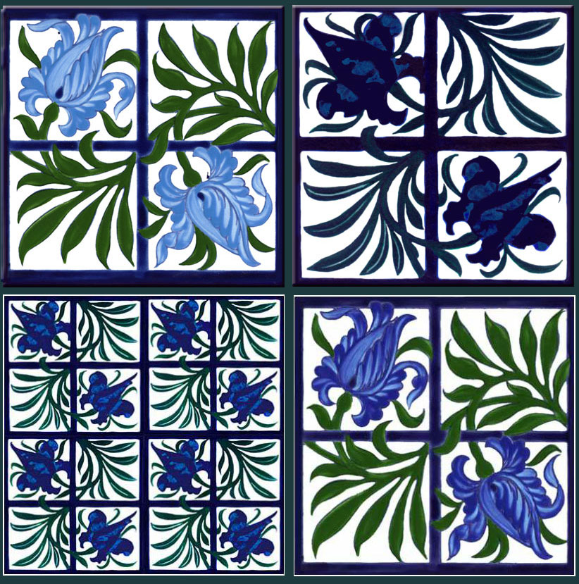 William Morris and William De Morgan tullip and trellis variations