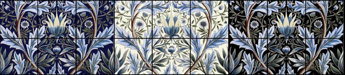 William Morris, Membland Tiles in indigo, cream, and black