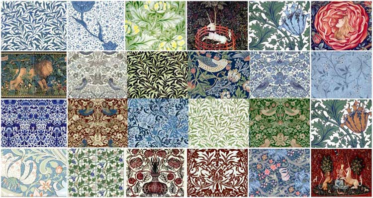 William Morris Tiles from Textils Collage