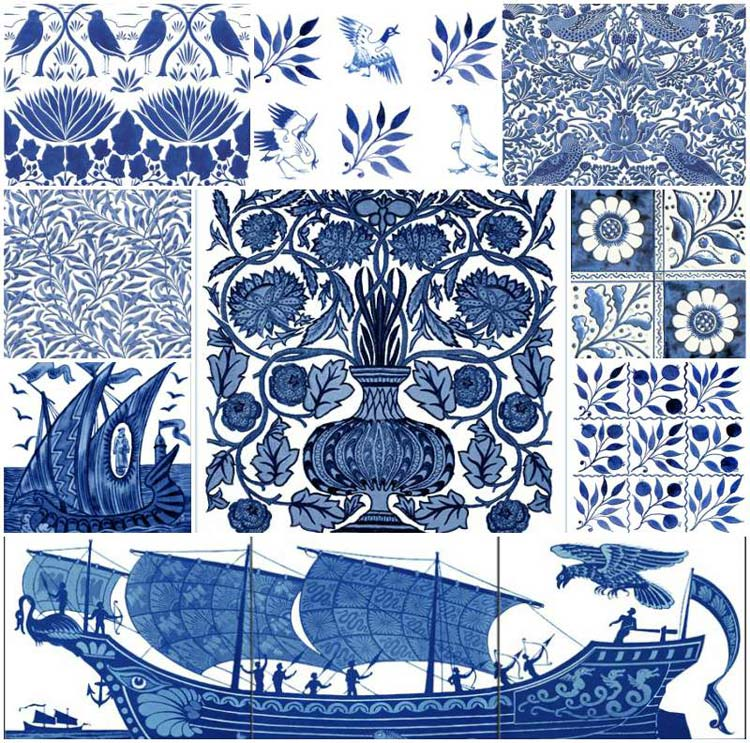 Victorian Blue and White Tiles