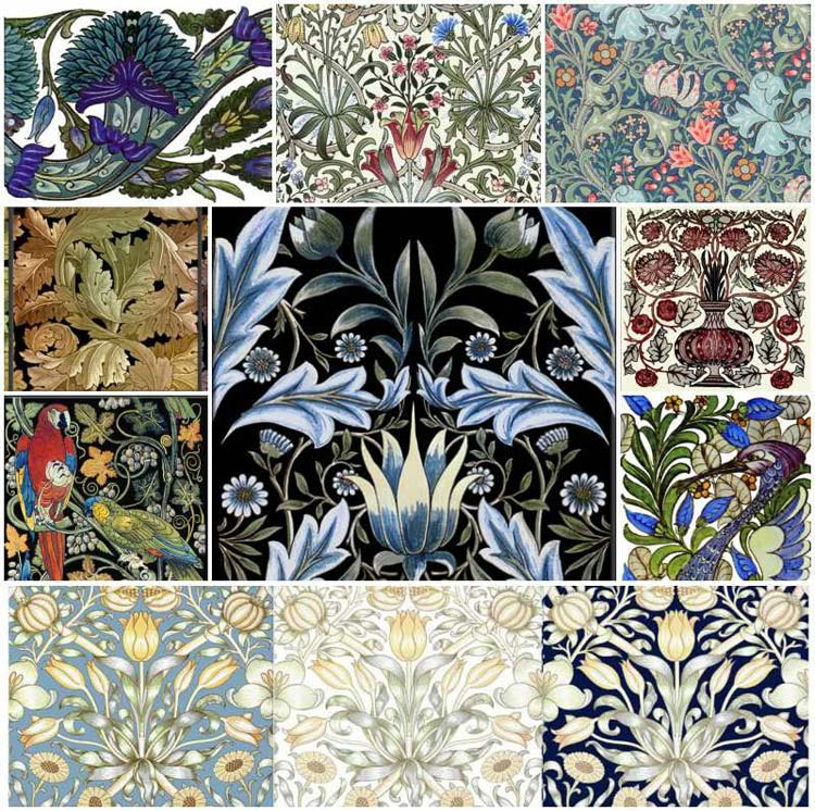 Victorian tiles and textiles.
