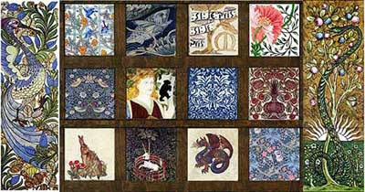 Pinned for later from williammorristile.com: Far left: William DeMorgan Fantastic Bird Top: Bird and Trellis, DeMorgan Fish, William Morris Red House Garden Tile, Poppy Middle: Strawberry Thief, Beauty and the Beast Fireplace Side Panel, Brother Rabbit, May Morris Flower Pot Bottom: Forest Animals Hare, Captive Unicorn, Persian Dragon, Huntington Museum Golden Lily Far right: William DeMorgan Tree of Knowledge