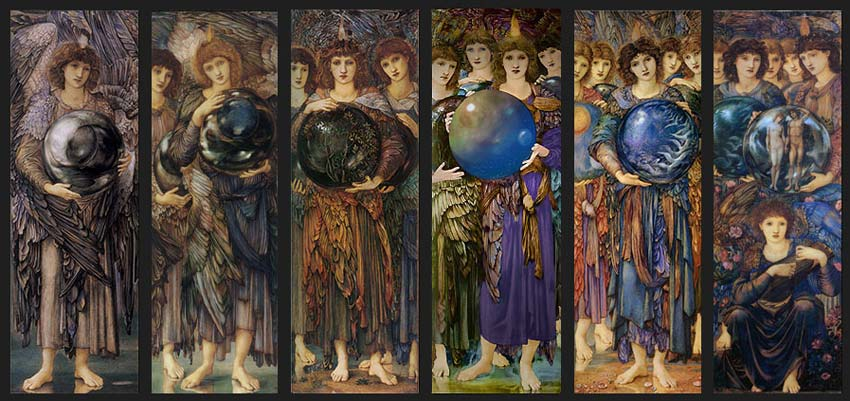 Edward Burne-Jones, Days of Creation Angels.  Jenny Morris, William's elder daughter, was the model for the angels