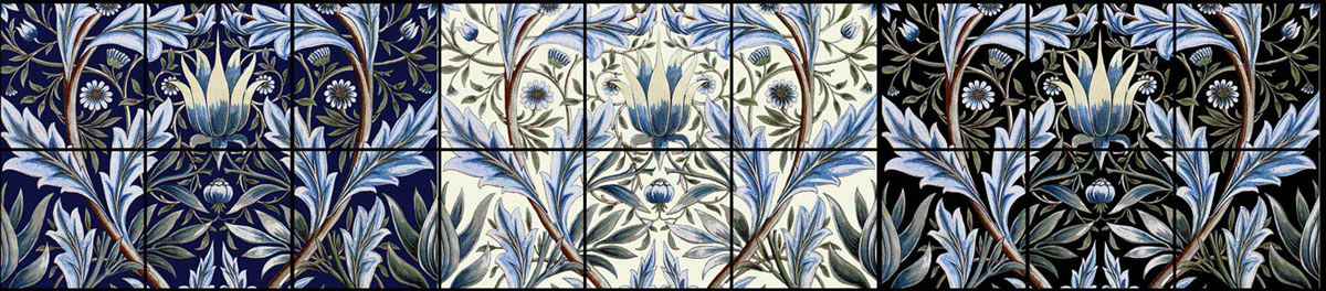 William Morris, Membland Tiles in indigo, cream, and black
