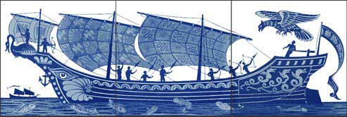 Blue and White Ships, Triptych